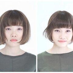 デザイン 小顔ショート 小顔ヘア ナチュラル ヘアスタイルや髪型の写真・画像