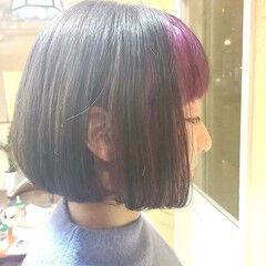 ボブ ダブルカラー ピンク インナーカラー ヘアスタイルや髪型の写真・画像