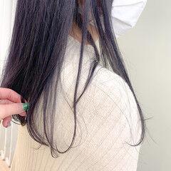 ナチュラル セミロング パープルアッシュ ヘアスタイルや髪型の写真・画像