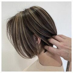エアータッチ 大人ハイライト ショート 3Dハイライト ヘアスタイルや髪型の写真・画像