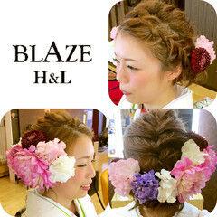 ショート ヘアアレンジ 裏編み込み 花 ヘアスタイルや髪型の写真・画像