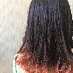 グラデーションカラー ミディアム オレンジブラウン 女子ウケ ヘアスタイルや髪型の写真・画像