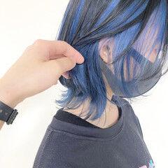 ブルー ネイビーブルー アッシュグレー モード ヘアスタイルや髪型の写真・画像