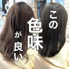 ナチュラル 髪質改善 ブリーチなし グレージュ ヘアスタイルや髪型の写真・画像
