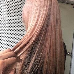 ピンクアッシュ ラベンダーピンク ピンク ロング ヘアスタイルや髪型の写真・画像