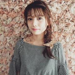 ガーリー ヘアアレンジ バレッタ ミディアム ヘアスタイルや髪型の写真・画像