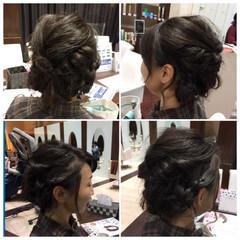 編み込み ねじり 前髪あり ヘアアレンジ ヘアスタイルや髪型の写真・画像