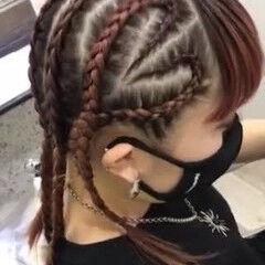 コーンロウ 裏編み込み ストリート 編み込みヘア ヘアスタイルや髪型の写真・画像