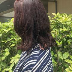 ボブ デジタルパーマ ラズベリーピンク 外ハネ ヘアスタイルや髪型の写真・画像