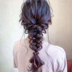 ロング フェミニン パーティ 編みおろし ヘアスタイルや髪型の写真・画像