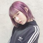 パープル 前髪あり 外国人風 ピンク