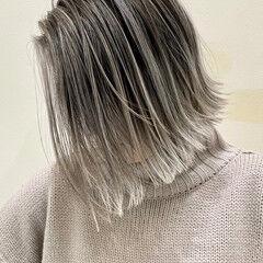 ボブ ミニボブ ナチュラル ハイライト ヘアスタイルや髪型の写真・画像