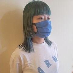 モード ミディアム 韓国ヘア ハイトーンカラー ヘアスタイルや髪型の写真・画像
