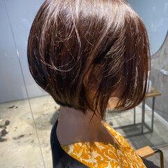 ショートボブ オーガニックカラー ナチュラル ボブ ヘアスタイルや髪型の写真・画像