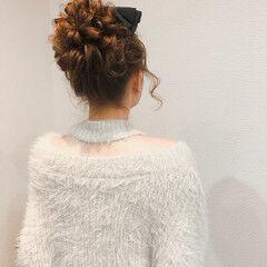 アップスタイル ロング お団子アレンジ お団子 ヘアスタイルや髪型の写真・画像