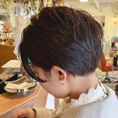 モード 刈り上げ ハンサムショート イメチェン ヘアスタイルや髪型の写真・画像