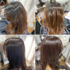 髪質改善カラー セミロング ロングヘアスタイル レイヤーロングヘア ヘアスタイルや髪型の写真・画像