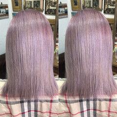 ラベンダーピンク コリアンピンク モード ピンクラベンダー ヘアスタイルや髪型の写真・画像