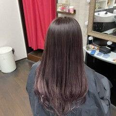 ラベンダーピンク ラベンダーカラー ラベンダー セミロング ヘアスタイルや髪型の写真・画像