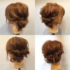 結婚式 くるりんぱ セミロング フェミニン ヘアスタイルや髪型の写真・画像