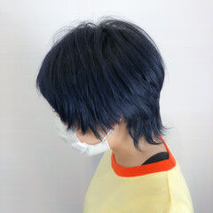 ウルフカット ストリート ハイトーンカラー デザインカラー ヘアスタイルや髪型の写真・画像
