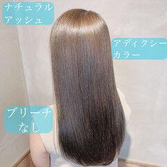 髪質改善トリートメント アッシュ デート ロング ヘアスタイルや髪型の写真・画像