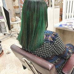 モード バレイヤージュ ブリーチカラー 大人ミディアム ヘアスタイルや髪型の写真・画像