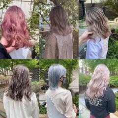 ナチュラル セミロング インナーカラー うる艶カラー ヘアスタイルや髪型の写真・画像
