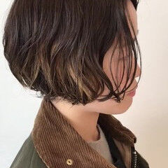 グラデライト ショートボブ インナーカラー ボブ ヘアスタイルや髪型の写真・画像