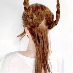 編みおろし エレガント ダウンスタイル ヘアアレンジ ヘアスタイルや髪型の写真・画像