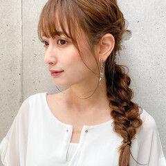 ロング ゆるふわセット 愛され 編みおろし ヘアスタイルや髪型の写真・画像