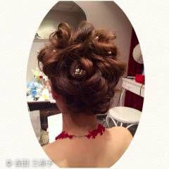 ローズ 結婚式 花 ヘアアレンジ ヘアスタイルや髪型の写真・画像
