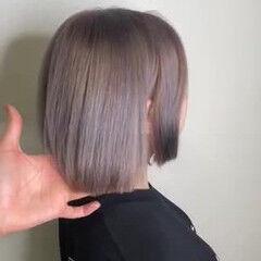 切りっぱなしボブ ショートボブ イルミナカラー ミニボブ ヘアスタイルや髪型の写真・画像