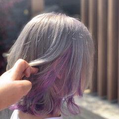 ユニコーンカラー ハイトーンカラー ホワイトカラー ボブ ヘアスタイルや髪型の写真・画像