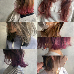 セミロング ブリーチ グラデーションカラー インナーカラー赤 ヘアスタイルや髪型の写真・画像