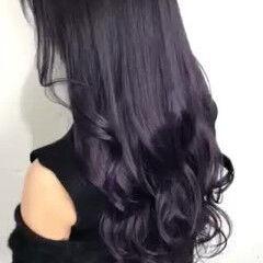 ラベンダーカラー ロング 透明感カラー ダークカラー ヘアスタイルや髪型の写真・画像