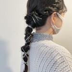 編みおろしヘア アンニュイほつれヘア ナチュラル 簡単ヘアアレンジ