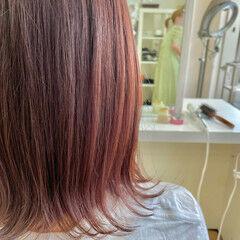 フェミニン ブリーチ無し 韓国風ヘアー ラズベリーピンク ヘアスタイルや髪型の写真・画像