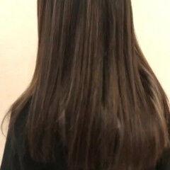 モード グレー グレージュ ロング ヘアスタイルや髪型の写真・画像