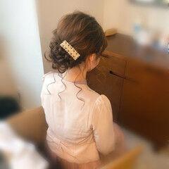 ヘアセット フェミニン 結婚式 ヘアアレンジ ヘアスタイルや髪型の写真・画像