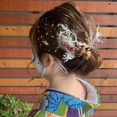 卒業式 ナチュラル ミディアム 袴 ヘアスタイルや髪型の写真・画像