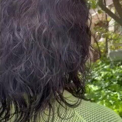ミディアム モード パーマ ゆるふわパーマ ヘアスタイルや髪型の写真・画像