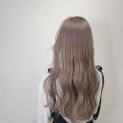 ブリーチ ゆるふわ ホワイト ロング ヘアスタイルや髪型の写真・画像