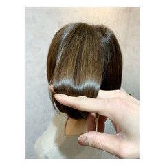 ナチュラル ボブ 艶髪 髪質改善トリートメント ヘアスタイルや髪型の写真・画像