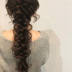 リボンアレンジ リボン 編みおろし ヘアセット ヘアスタイルや髪型の写真・画像