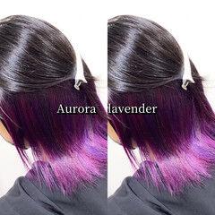 インナーカラー ミディアム ピンクラベンダー インナーラベンダー ヘアスタイルや髪型の写真・画像