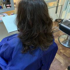 ゆるふわパーマ デジタルパーマ エレガント ランダムカール ヘアスタイルや髪型の写真・画像