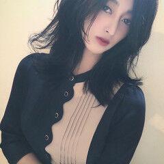 ネイビー 暗髪 暗髪女子 暗髪バイオレット ヘアスタイルや髪型の写真・画像
