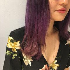 ガーリー ハイトーン パープル セミロング ヘアスタイルや髪型の写真・画像