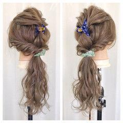 ロング ショート 簡単ヘアアレンジ ヘアクリップ ヘアスタイルや髪型の写真・画像